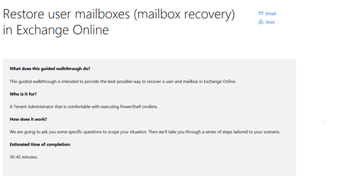 Mailbox Recovery Troubleshooter